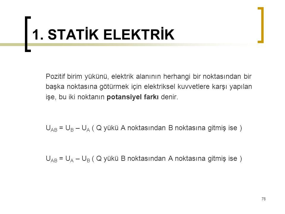 1. STATİK ELEKTRİK Pozitif birim yükünü, elektrik alanının herhangi bir noktasından bir başka noktasına götürmek için elektriksel kuvvetlere karşı yap