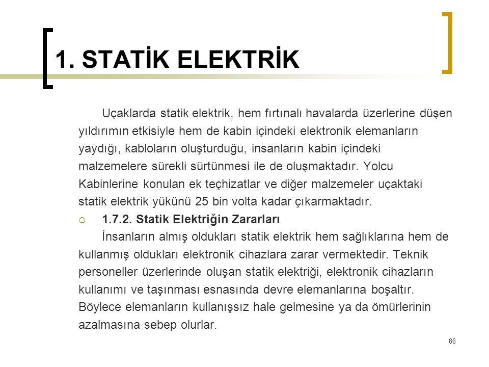 1. STATİK ELEKTRİK Uçaklarda statik elektrik, hem fırtınalı havalarda üzerlerine düşen yıldırımın etkisiyle hem de kabin içindeki elektronik elemanlar