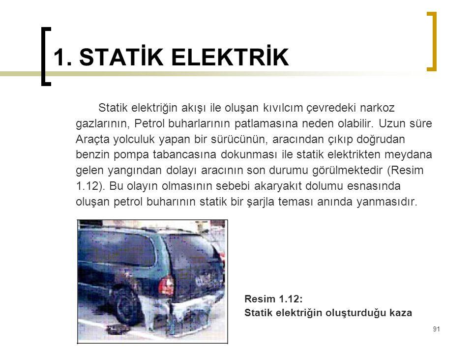 1. STATİK ELEKTRİK Statik elektriğin akışı ile oluşan kıvılcım çevredeki narkoz gazlarının, Petrol buharlarının patlamasına neden olabilir. Uzun süre