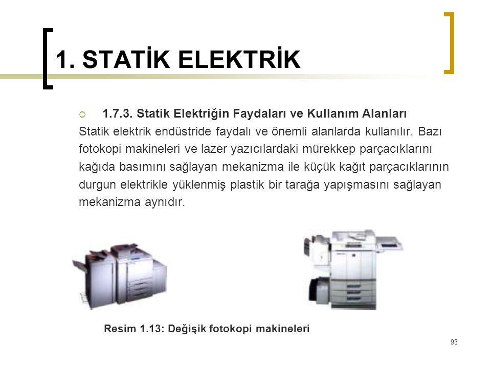 1. STATİK ELEKTRİK  1.7.3. Statik Elektriğin Faydaları ve Kullanım Alanları Statik elektrik endüstride faydalı ve önemli alanlarda kullanılır. Bazı f