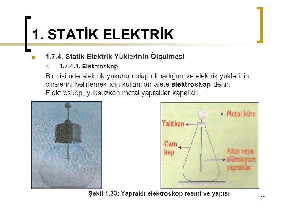 1. STATİK ELEKTRİK 1.7.4. Statik Elektrik Yüklerinin Ölçülmesi  1.7.4.1. Elektroskop Bir cisimde elektrik yükünün olup olmadığını ve elektrik yükleri