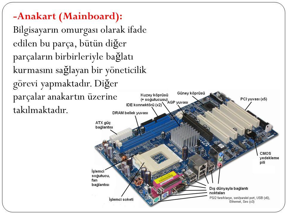 -Anakart (Mainboard): Bilgisayarın omurgası olarak ifade edilen bu parça, bütün di ğ er parçaların birbirleriyle ba ğ latı kurmasını sa ğ layan bir yö