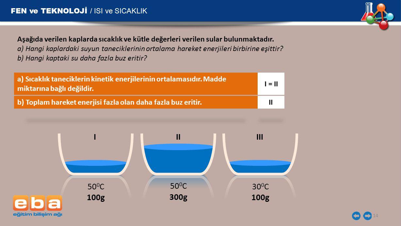 FEN ve TEKNOLOJİ / ISI ve SICAKLIK 14 Aşağıda verilen kaplarda sıcaklık ve kütle değerleri verilen sular bulunmaktadır. a) Hangi kaplardaki suyun tane