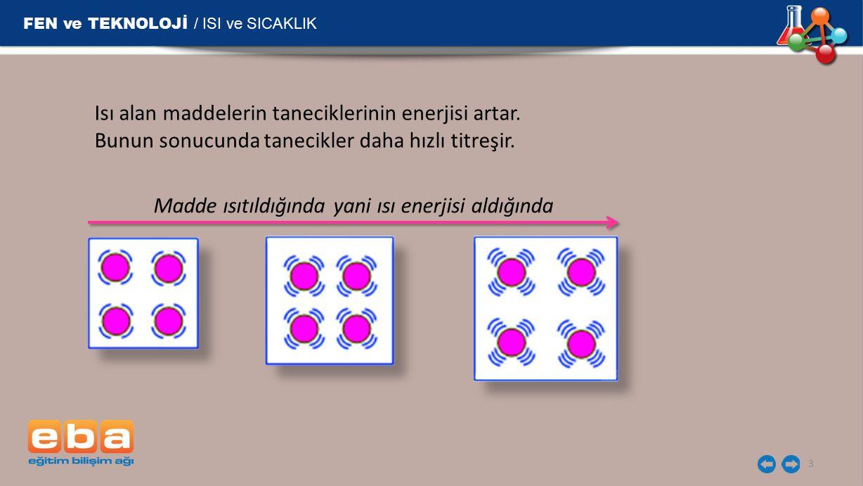 FEN ve TEKNOLOJİ / ISI ve SICAKLIK 4 Bütün maddelerin tanecikleri hareket halindedir.
