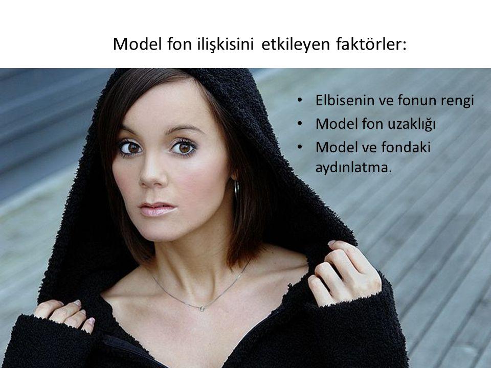 Model fon ilişkisini etkileyen faktörler: Elbisenin ve fonun rengi Model fon uzaklığı Model ve fondaki aydınlatma.