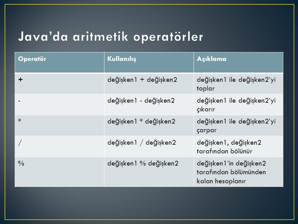 OperatörKullanılışAçıklama + de ğ işken1 + de ğ işken2de ğ işken1 ile de ğ işken2'yi toplar - de ğ işken1 - de ğ işken2de ğ işken1 ile de ğ işken2'yi çıkarır * de ğ işken1 * de ğ işken2de ğ işken1 ile de ğ işken2'yi çarpar / de ğ işken1 / de ğ işken2de ğ işken1, de ğ işken2 tarafından bölünür % de ğ işken1 % de ğ işken2de ğ işken1'in de ğ işken2 tarafından bölümünden kalan hesaplanır