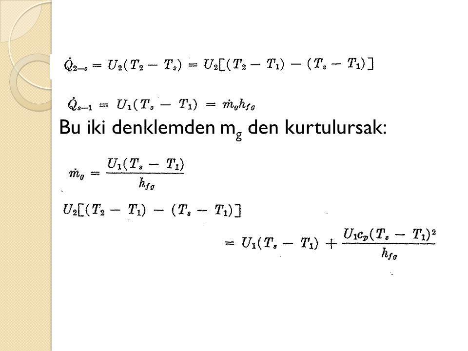 Bu iki denklemden m g den kurtulursak: