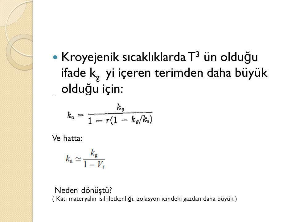 Kroyejenik sıcaklıklarda T 3 ün oldu ğ u ifade k g yi içeren terimden daha büyük oldu ğ u için: Ve hatta: Neden dönüştü? ( Katı materyalin ısıl iletke