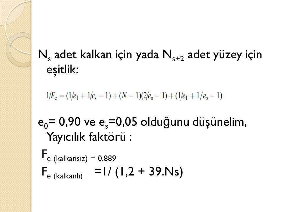 N s adet kalkan için yada N s+2 adet yüzey için eşitlik: e 0 = 0,90 ve e s =0,05 oldu ğ unu düşünelim, Yayıcılık faktörü : F e (kalkansız) = 0,889 F e (kalkanlı) =1/ (1,2 + 39.Ns)