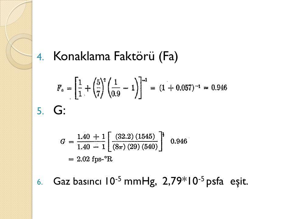 4. Konaklama Faktörü (Fa) 5. G: 6. Gaz basıncı 10 -5 mmHg, 2,79*10 -5 psfa eşit.