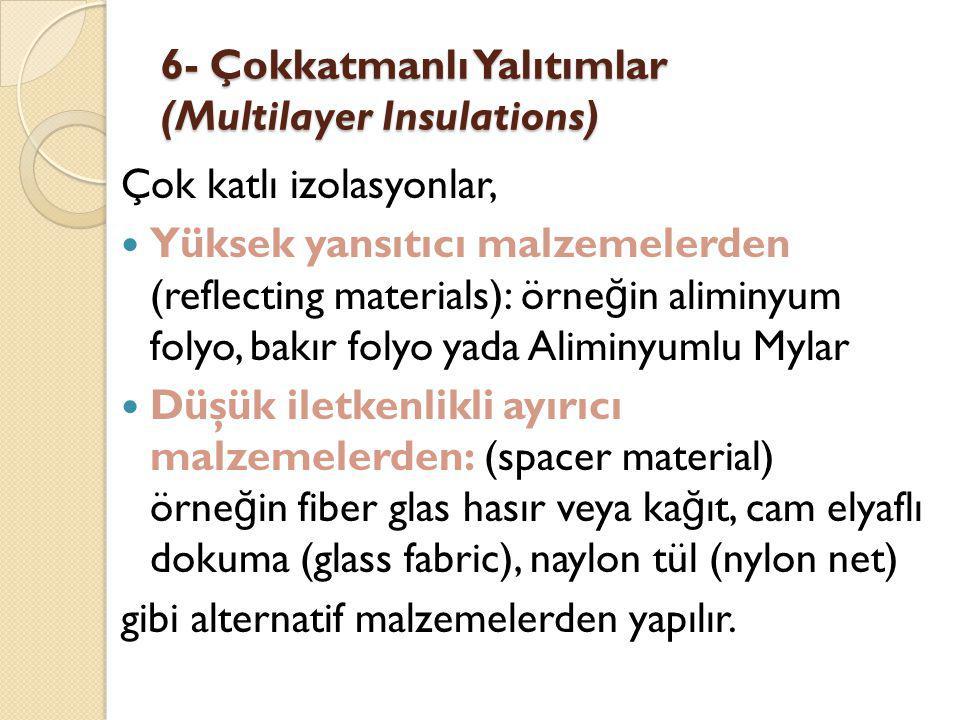 6- Çokkatmanlı Yalıtımlar (Multilayer Insulations) Çok katlı izolasyonlar, Yüksek yansıtıcı malzemelerden (reflecting materials): örne ğ in aliminyum folyo, bakır folyo yada Aliminyumlu Mylar Düşük iletkenlikli ayırıcı malzemelerden: (spacer material) örne ğ in fiber glas hasır veya ka ğ ıt, cam elyaflı dokuma (glass fabric), naylon tül (nylon net) gibi alternatif malzemelerden yapılır.