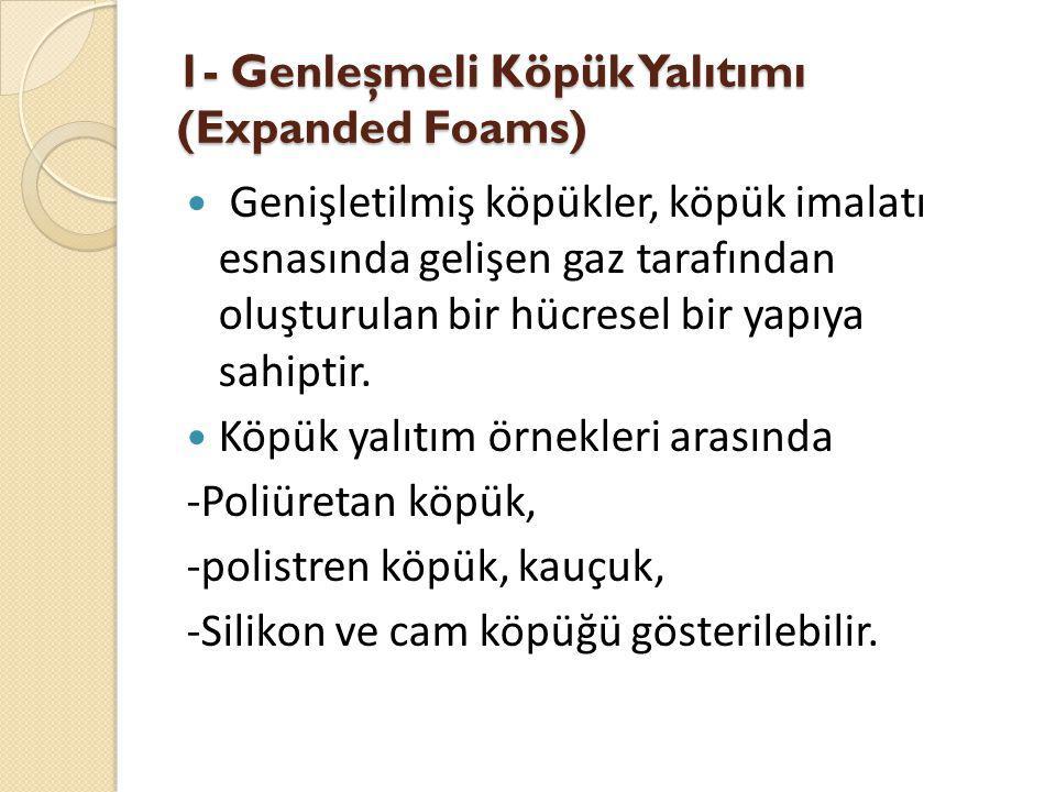 1- Genleşmeli Köpük Yalıtımı (Expanded Foams) Genişletilmiş köpükler, köpük imalatı esnasında gelişen gaz tarafından oluşturulan bir hücresel bir yapıya sahiptir.