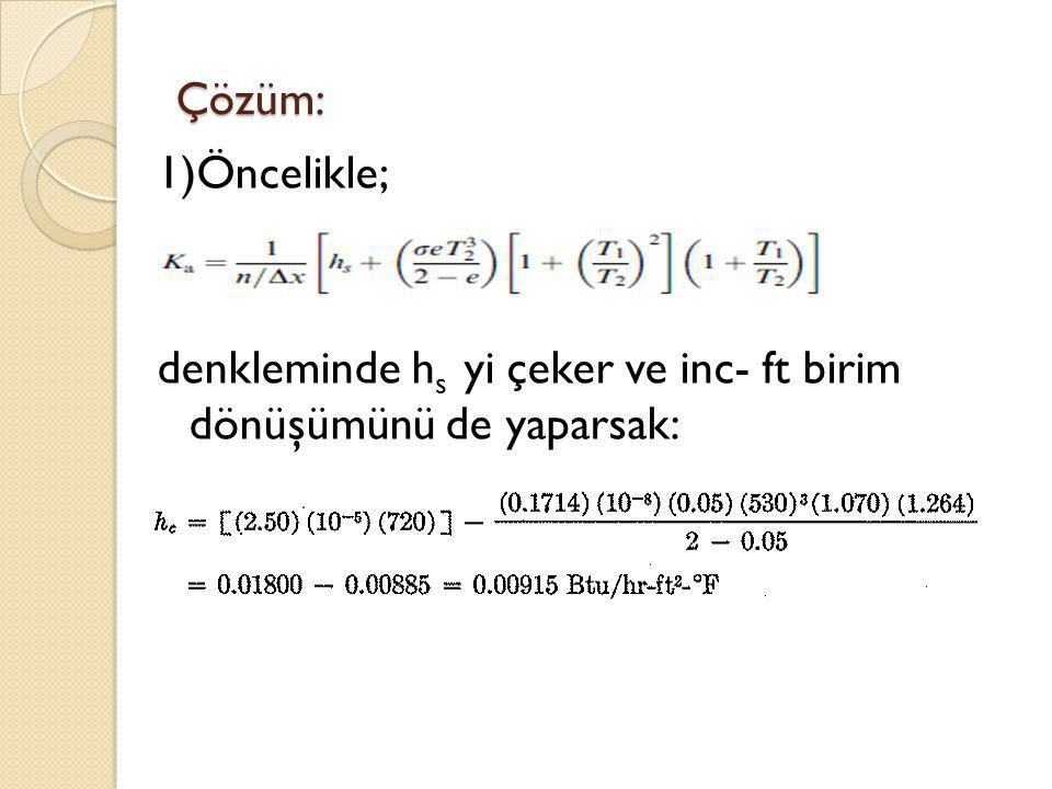 Çözüm: 1)Öncelikle; denkleminde h s yi çeker ve inc- ft birim dönüşümünü de yaparsak: