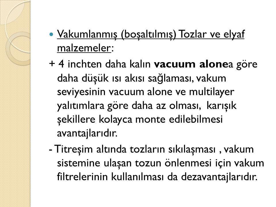 Vakumlanmış (boşaltılmış) Tozlar ve elyaf malzemeler: + 4 inchten daha kalın vacuum alonea göre daha düşük ısı akısı sa ğ laması, vakum seviyesinin va
