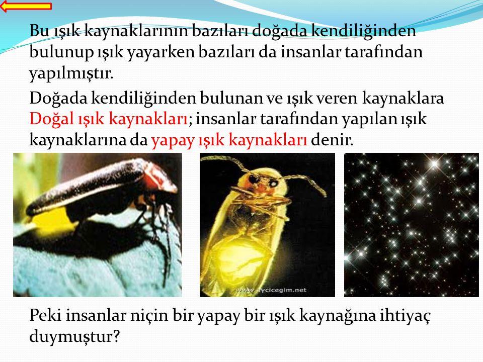 Bu ışık kaynaklarının bazıları doğada kendiliğinden bulunup ışık yayarken bazıları da insanlar tarafından yapılmıştır. Doğada kendiliğinden bulunan ve
