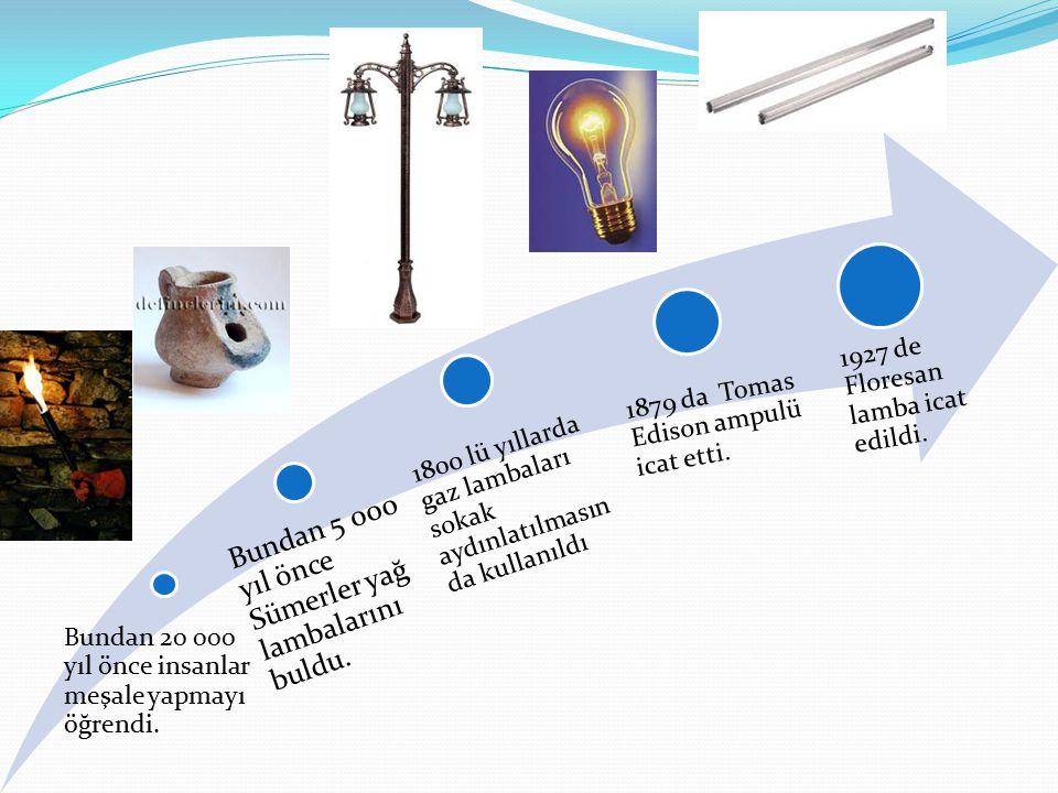 Bundan 20 000 yıl önce insanlar meşale yapmayı öğrendi. Bundan 5 000 yıl önce Sümerler yağ lambalarını buldu. 1800 lü yıllarda gaz lambaları sokak ayd