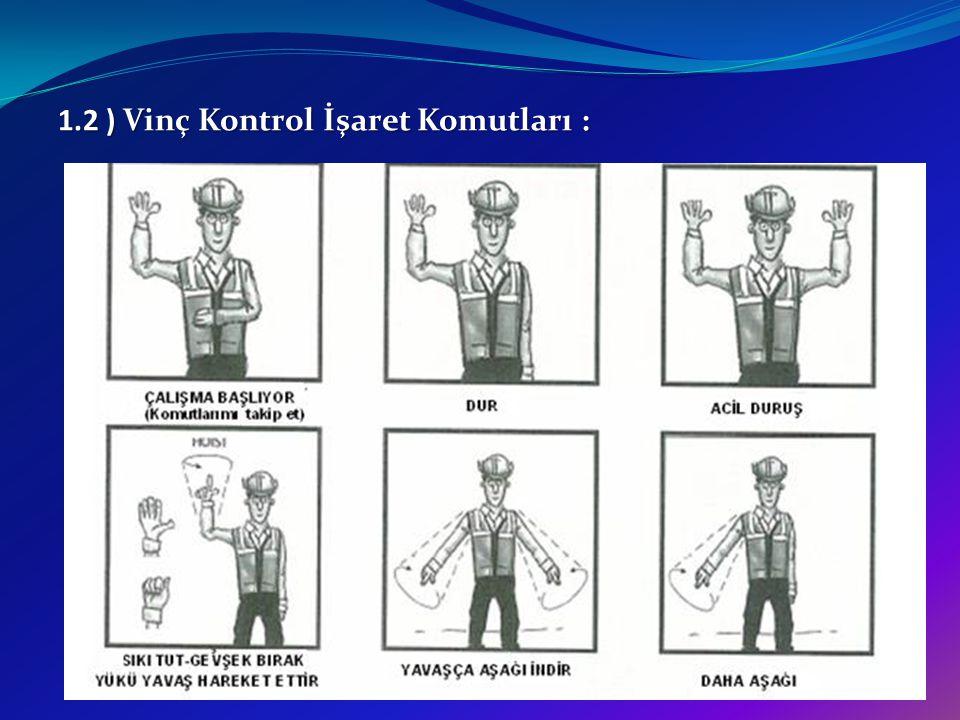 1.2 ) Vinç Kontrol İşaret Komutları :