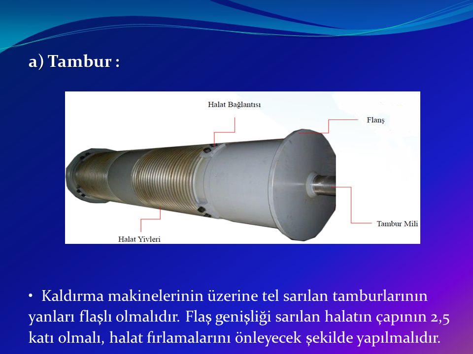 a) Tambur : Kaldırma makinelerinin üzerine tel sarılan tamburlarının yanları flaşlı olmalıdır. Flaş genişliği sarılan halatın çapının 2,5 katı olmalı,