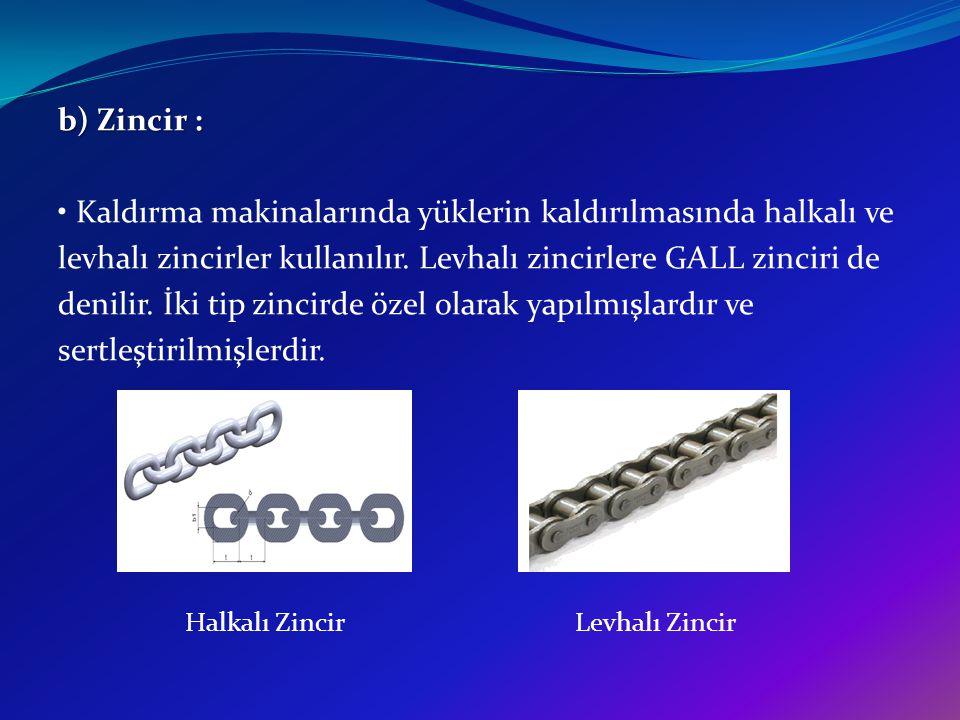 b) Zincir : Kaldırma makinalarında yüklerin kaldırılmasında halkalı ve levhalı zincirler kullanılır. Levhalı zincirlere GALL zinciri de denilir. İki t
