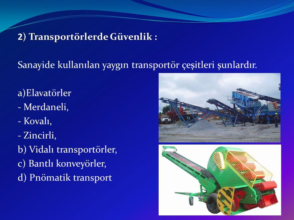 2) Transportörlerde Güvenlik : Sanayide kullanılan yaygın transportör çeşitleri şunlardır. a)Elavatörler - Merdaneli, - Kovalı, - Zincirli, b) Vidalı
