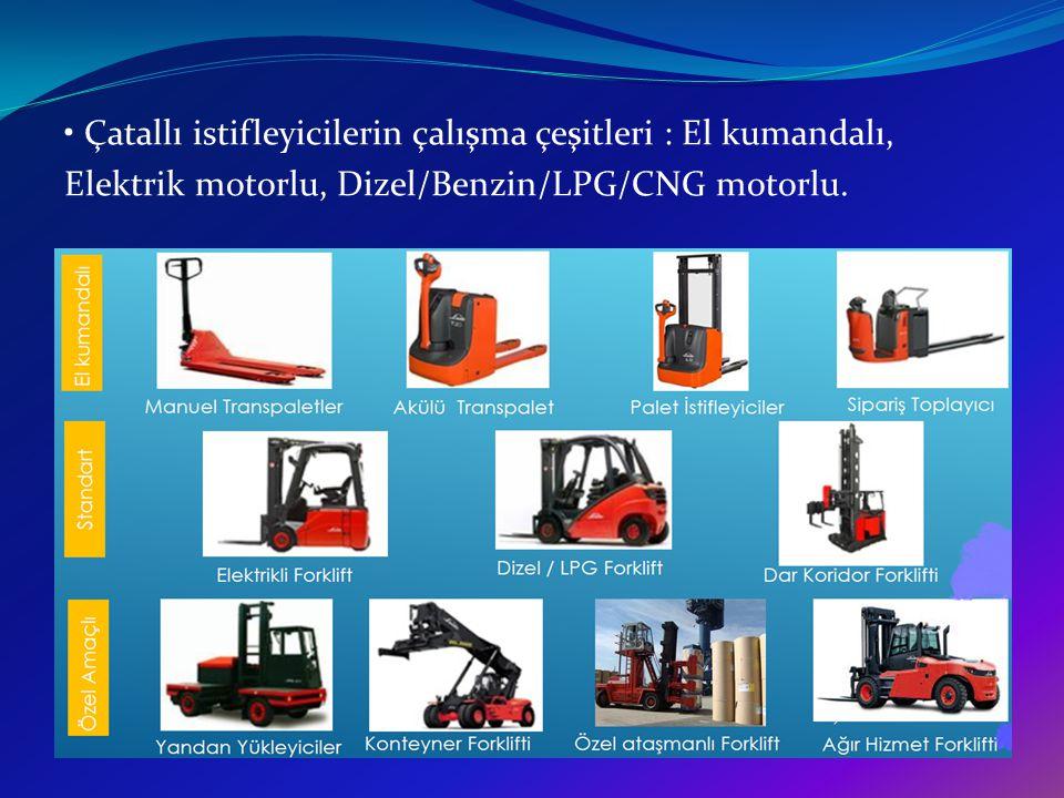 Çatallı istifleyicilerin çalışma çeşitleri : El kumandalı, Elektrik motorlu, Dizel/Benzin/LPG/CNG motorlu.