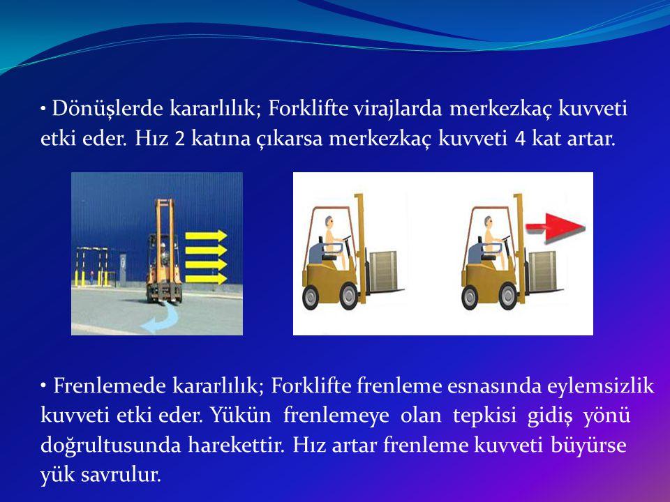 Dönüşlerde kararlılık; Forklifte virajlarda merkezkaç kuvveti etki eder. Hız 2 katına çıkarsa merkezkaç kuvveti 4 kat artar. Frenlemede kararlılık; Fo