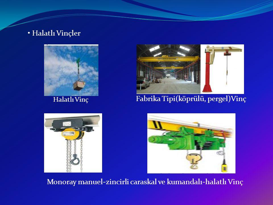 c) Kumanda Sistemlerine Göre Vinçler : Mekanik Kumandalı Vinçler Hidrolik Kumandalı Vinçler Hava Kumandalı Vinçler Elektrik Kumandalı Vinçler Gırgır Vinç