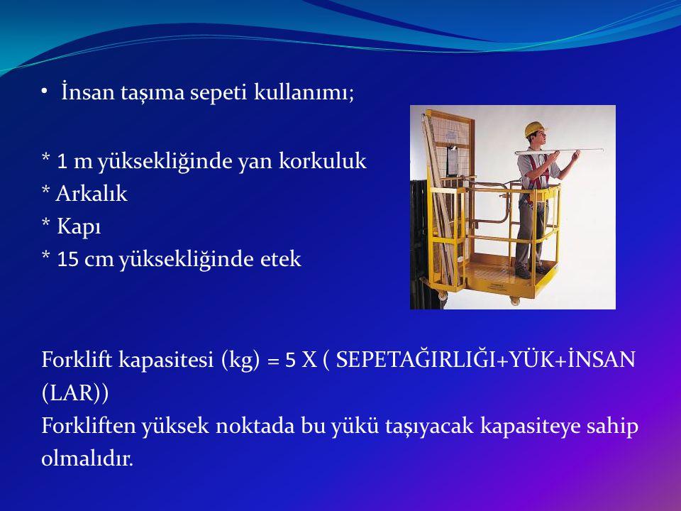 İnsan taşıma sepeti kullanımı; * 1 m yüksekliğinde yan korkuluk * Arkalık * Kapı * 15 cm yüksekliğinde etek Forklift kapasitesi (kg) = 5 X ( SEPETAĞIR