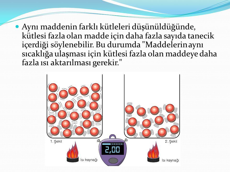 Aynı maddenin farklı kütleleri düşünüldüğünde, kütlesi fazla olan madde için daha fazla sayıda tanecik içerdiği söylenebilir. Bu durumda