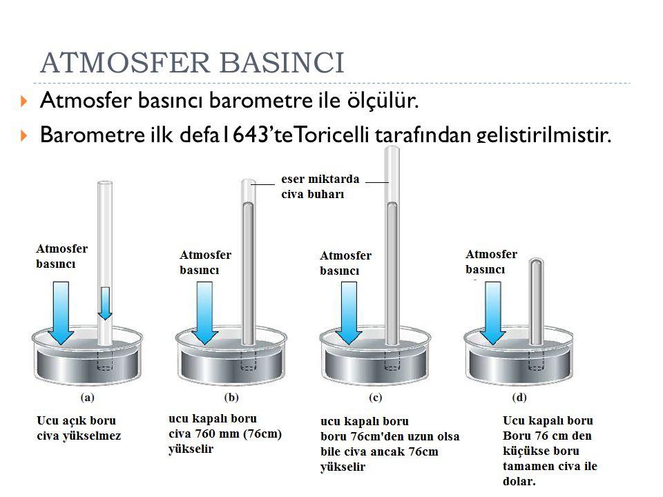 ATMOSFER BASINCI  Atmosfer basıncı barometre ile ölçülür.  Barometre ilk defa1643'teToricelli tarafından geliştirilmiştir.