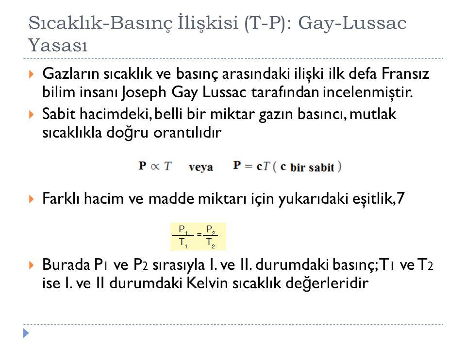 Sıcaklık-Basınç İlişkisi (T-P): Gay-Lussac Yasası  Gazların sıcaklık ve basınç arasındaki ilişki ilk defa Fransız bilim insanı Joseph Gay Lussac tara