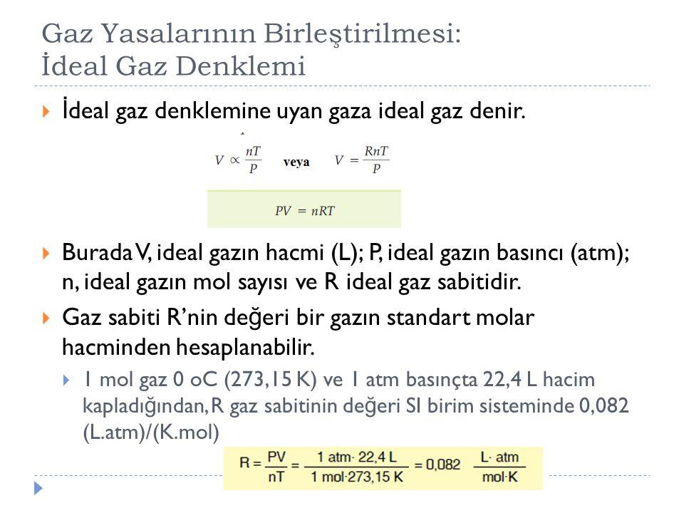 Gaz Yasalarının Birleştirilmesi: İdeal Gaz Denklemi  İ deal gaz denklemine uyan gaza ideal gaz denir.  Burada V, ideal gazın hacmi (L); P, ideal gaz