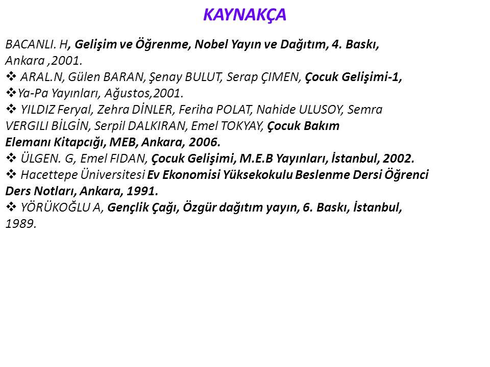 KAYNAKÇA BACANLI. H, Gelişim ve Öğrenme, Nobel Yayın ve Dağıtım, 4. Baskı, Ankara,2001.  ARAL.N, Gülen BARAN, Şenay BULUT, Serap ÇIMEN, Çocuk Gelişim