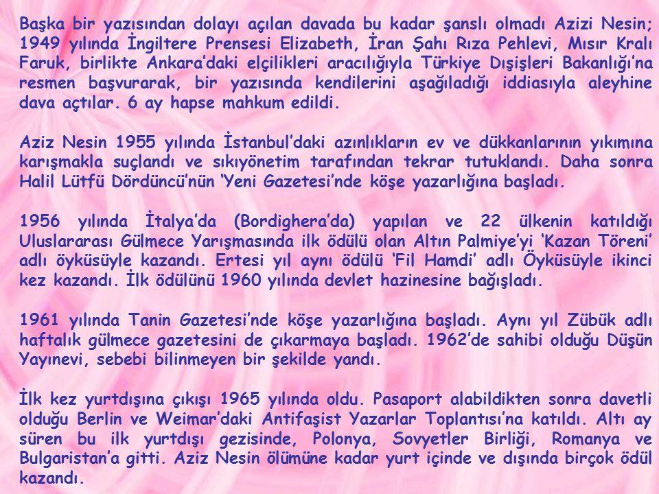 Asıl adı Mehmet Nusret olan Aziz Nesin, 20 Aralık 1915 ' te İstanbul Heybeliada ' da doğdu.