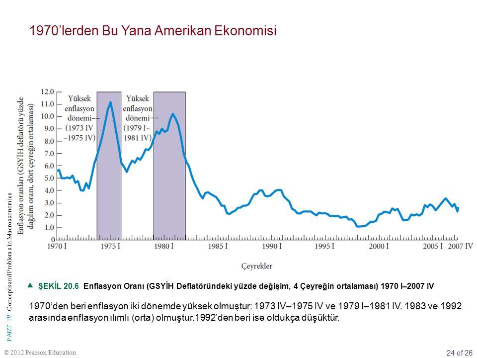 24 of 26 © 2012 Pearson Education PART IV Concepts and Problems in Macroeconomics  ŞEKİL 20.6 Enflasyon Oranı (GSYİH Deflatöründeki yüzde değişim, 4 Çeyreğin ortalaması) 1970 I–2007 IV 1970'den beri enflasyon iki dönemde yüksek olmuştur: 1973 IV–1975 IV ve 1979 I–1981 IV.