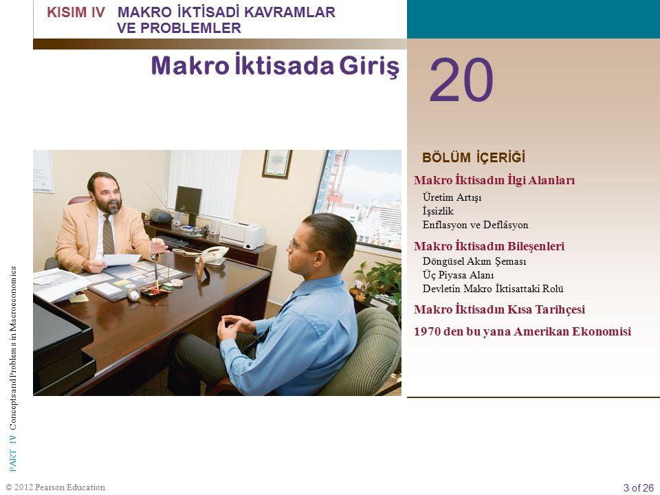 4 of 26 © 2012 Pearson Education PART IV Concepts and Problems in Macroeconomics mikro iktisat Sanayilerin nasıl faaliyet gösterdiğini ve bireysel karar alma birimlerin -firmaların ve hane halklarının - davarnışlarını incelemektedir.