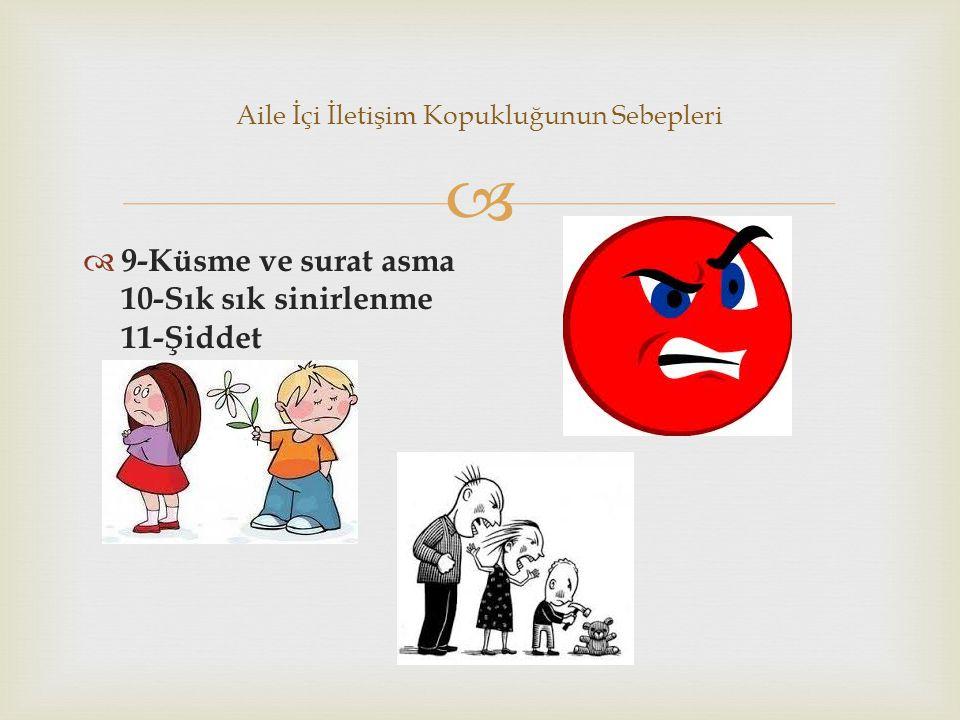   9-Küsme ve surat asma 10-Sık sık sinirlenme 11-Şiddet Aile İçi İletişim Kopukluğunun Sebepleri