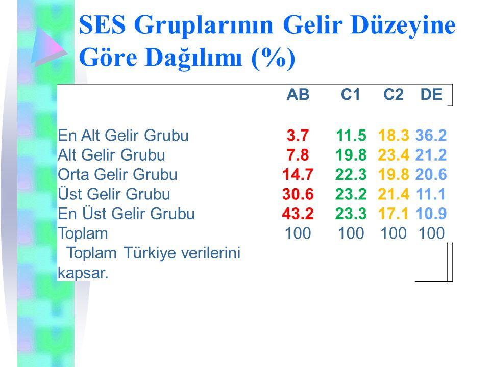 SES Gruplarının Gelir Düzeyine Göre Dağılımı (%) ABC1C2DE En Alt Gelir Grubu3.711.518.336.2 Alt Gelir Grubu7.819.823.421.2 Orta Gelir Grubu14.722.319.