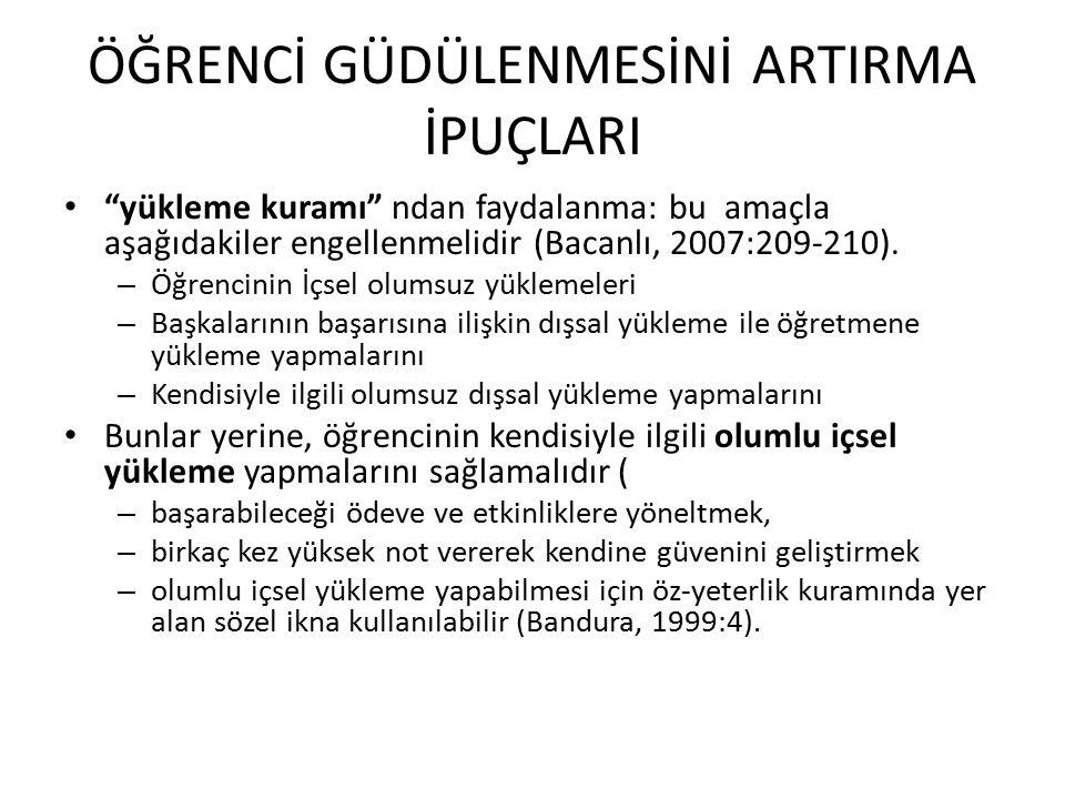 """ÖĞRENCİ GÜDÜLENMESİNİ ARTIRMA İPUÇLARI """"yükleme kuramı"""" ndan faydalanma: bu amaçla aşağıdakiler engellenmelidir (Bacanlı, 2007:209-210). – Öğrencinin"""
