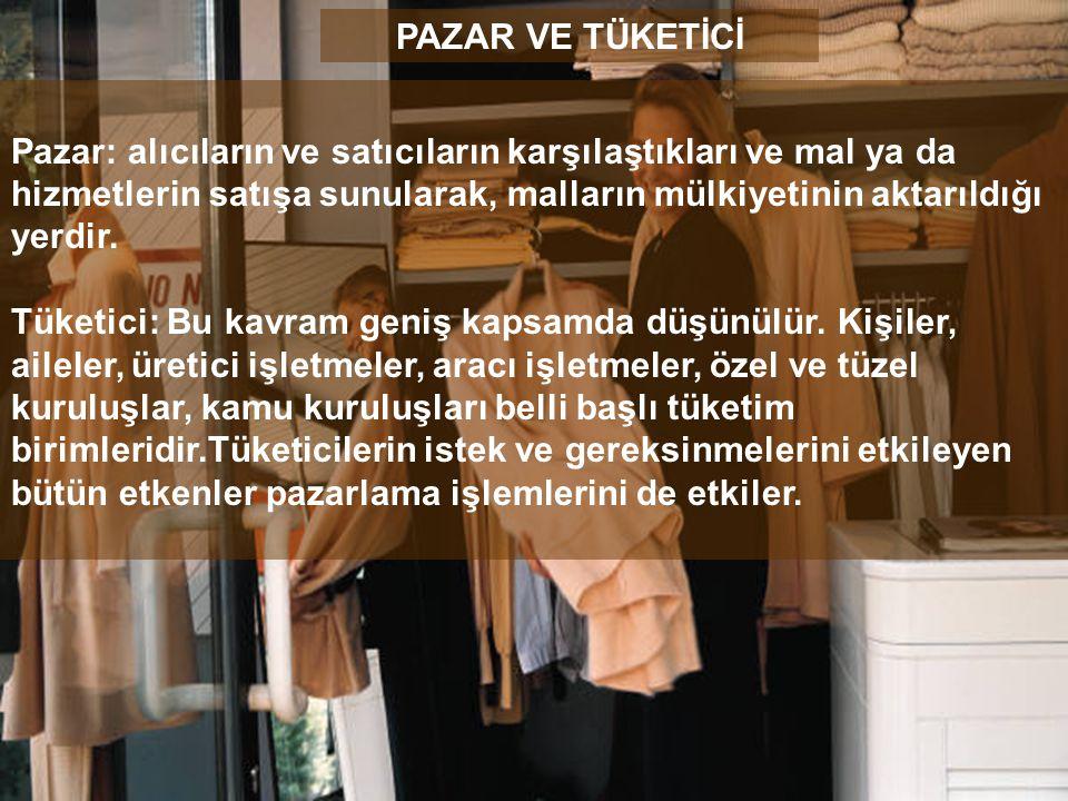Pazar: alıcıların ve satıcıların karşılaştıkları ve mal ya da hizmetlerin satışa sunularak, malların mülkiyetinin aktarıldığı yerdir. Tüketici: Bu kav