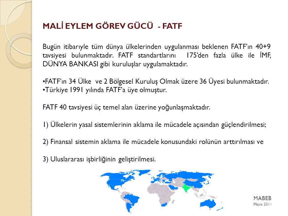 MAL İ EYLEM GÖREV GÜCÜ - FATF Bugün itibarıyle tüm dünya ülkelerinden uygulanması beklenen FATF'ın 40+9 tavsiyesi bulunmaktadır.