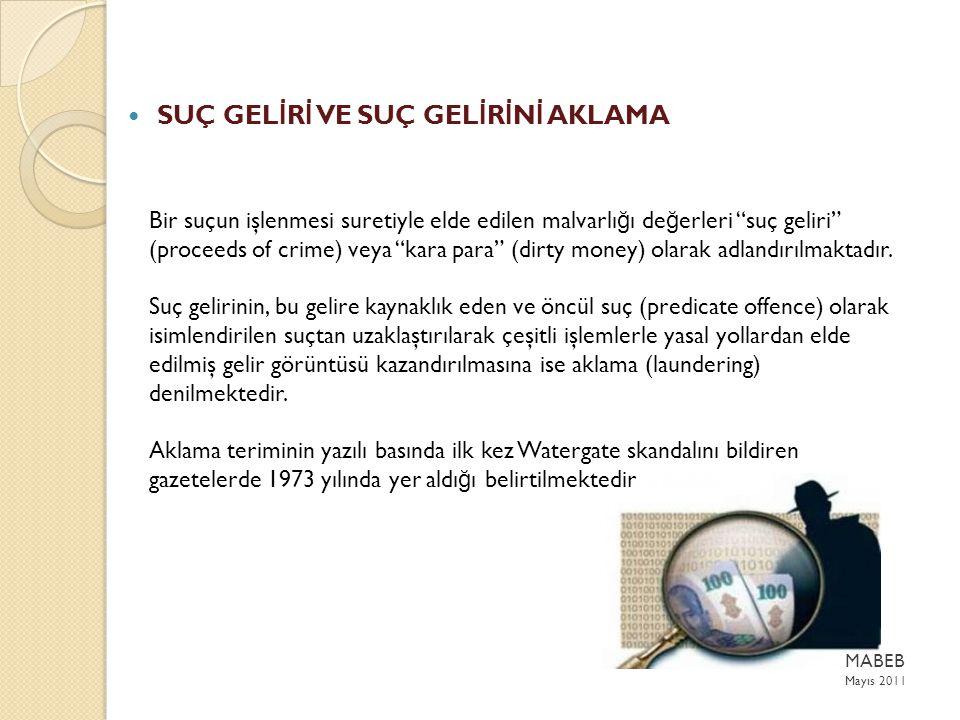 Bir suçun işlenmesi suretiyle elde edilen malvarlı ğ ı de ğ erleri suç geliri (proceeds of crime) veya kara para (dirty money) olarak adlandırılmaktadır.