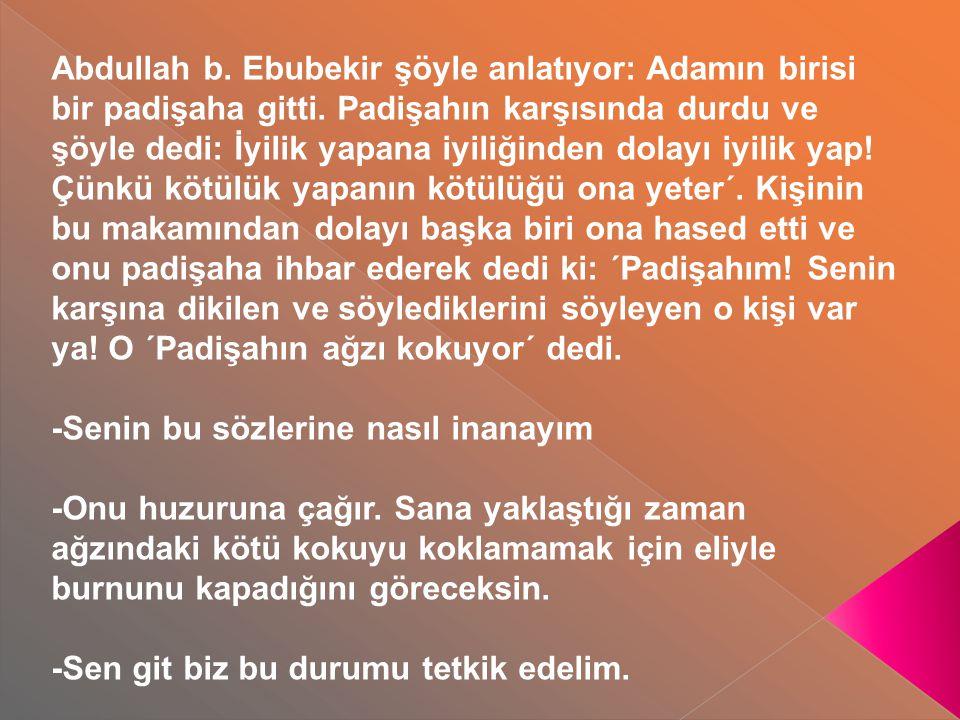 Abdullah b. Ebubekir şöyle anlatıyor: Adamın birisi bir padişaha gitti. Padişahın karşısında durdu ve şöyle dedi: İyilik yapana iyiliğinden dolayı iyi