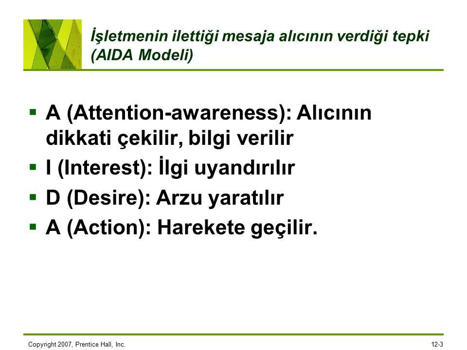 Copyright 2007, Prentice Hall, Inc.12-3 İşletmenin ilettiği mesaja alıcının verdiği tepki (AIDA Modeli)  A (Attention-awareness): Alıcının dikkati çekilir, bilgi verilir  I (Interest): İlgi uyandırılır  D (Desire): Arzu yaratılır  A (Action): Harekete geçilir.