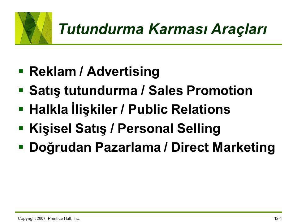 Copyright 2007, Prentice Hall, Inc.12-4 Tutundurma Karması Araçları  Reklam / Advertising  Satış tutundurma / Sales Promotion  Halkla İlişkiler / Public Relations  Kişisel Satış / Personal Selling  Doğrudan Pazarlama / Direct Marketing