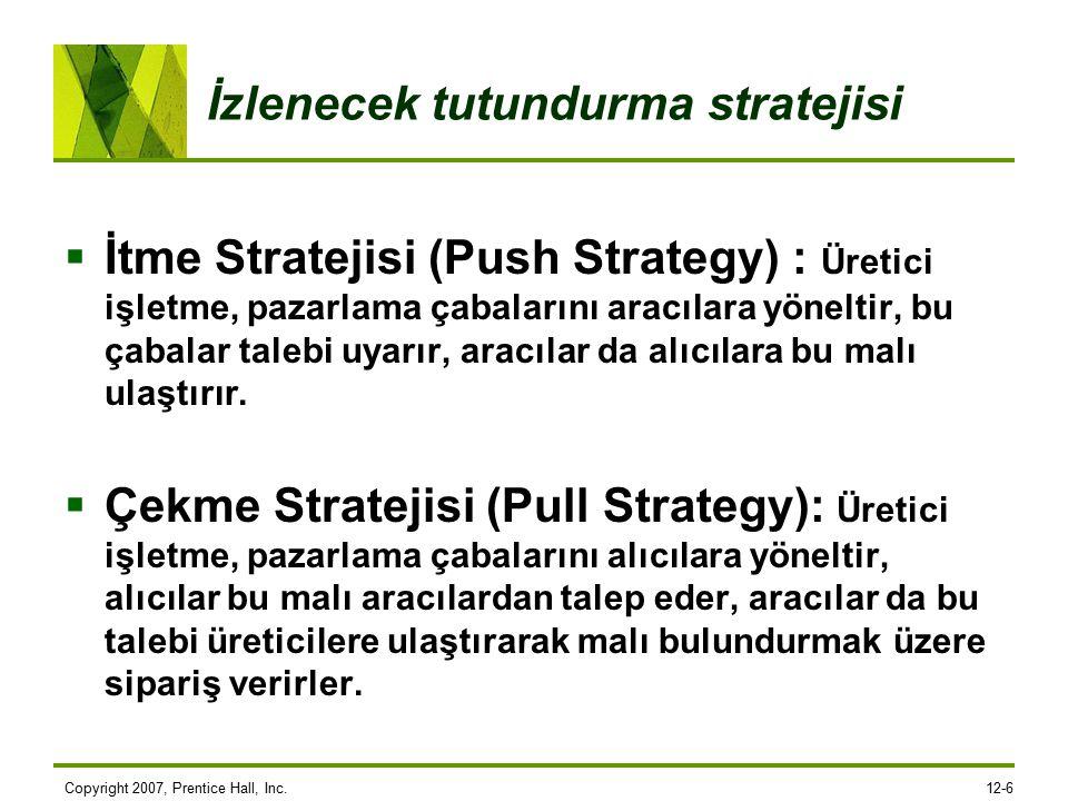 Copyright 2007, Prentice Hall, Inc.12-6 İzlenecek tutundurma stratejisi  İtme Stratejisi (Push Strategy) : Üretici işletme, pazarlama çabalarını aracılara yöneltir, bu çabalar talebi uyarır, aracılar da alıcılara bu malı ulaştırır.
