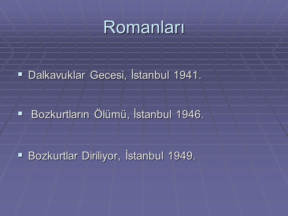 Romanları  Dalkavuklar Gecesi, İstanbul 1941.  Bozkurtların Ölümü, İstanbul 1946.  Bozkurtlar Diriliyor, İstanbul 1949.