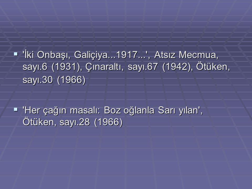  'İki Onbaşı, Galiçiya...1917...', Atsız Mecmua, sayı.6 (1931), Çınaraltı, sayı.67 (1942), Ötüken, sayı.30 (1966)  'Her çağın masalı: Boz oğlanla Sa