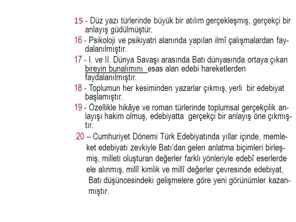 Hikaye: Abdullah Efendi'nin Rüyaları, Yaz Yağmuru Deneme: Beş Şehir; Yaşadığım Gibi Makale- inceleme: Yahya Kemal, XIX.