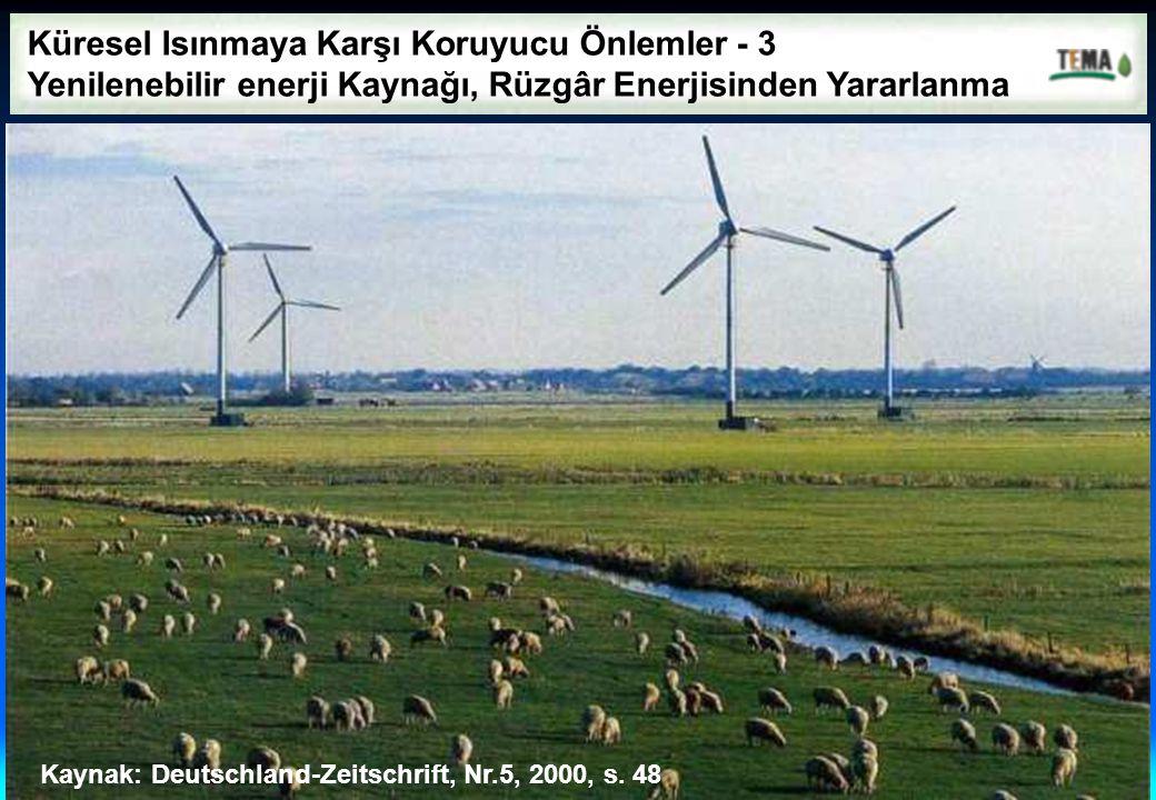 Küresel Isınmaya Karşı Koruyucu Önlemler - 3 Yenilenebilir enerji Kaynağı, Rüzgâr Enerjisinden Yararlanma Kaynak: Deutschland-Zeitschrift, Nr.5, 2000,